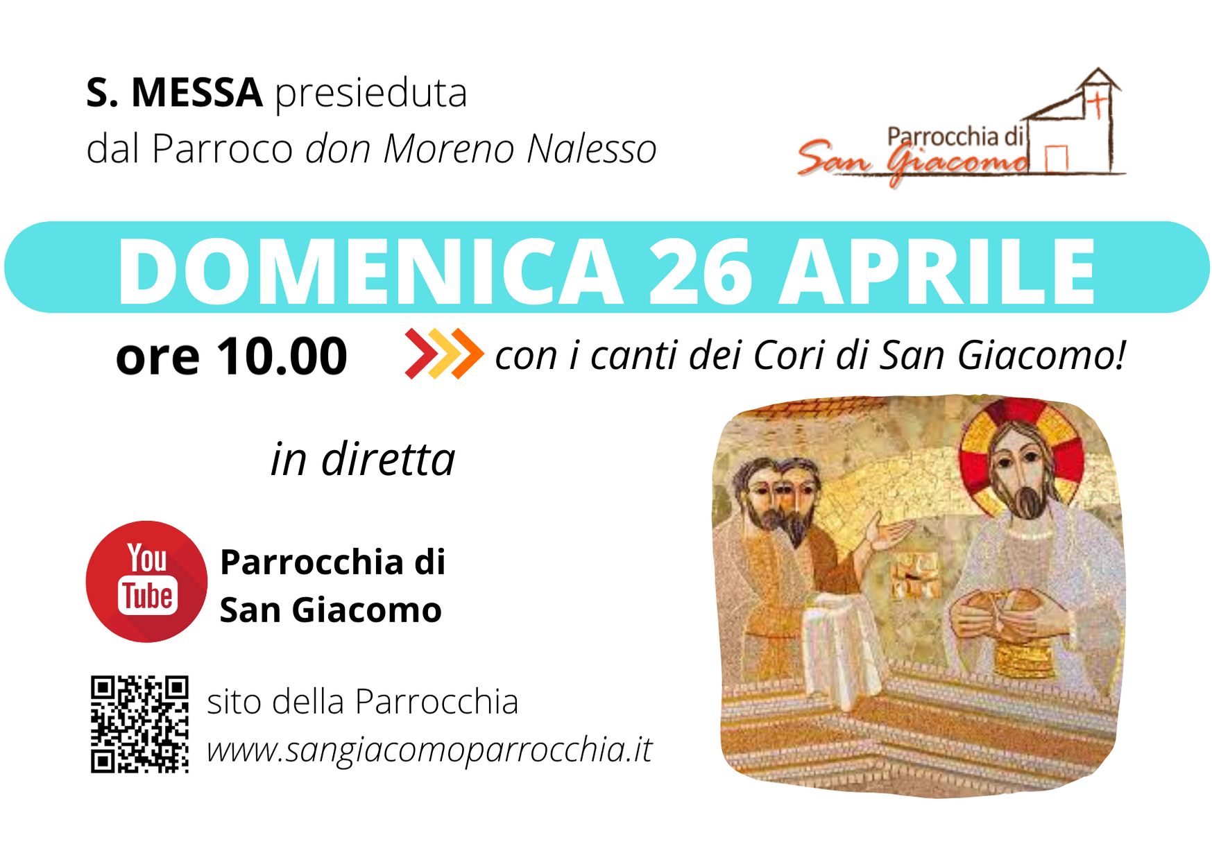 S. MESSA IN STREAMING 26 APRILE